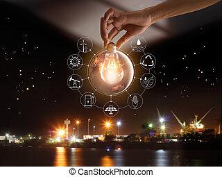 手 藏品, 燈泡, 前面, 全球, 給予, the, 世界的, 消費, 由于, 圖象, 能量, 來源, 為, 可更新, 可持續, development., 生態學, concept., 元素, ......的, 這, 圖像, 提供, 所作, nasa.