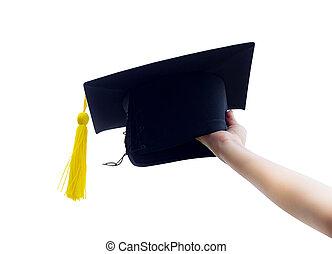 手 藏品, 畢業, 帽子, 在背景上, ......的, 藍色, sky.
