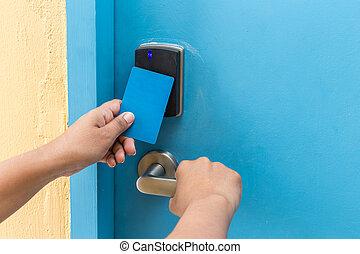 手 藏品, 藍色, 旅館, keycard, 前面, 電, 門