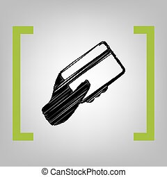 手 藏品, a, 信用, card., vector., 黑色, 雜文, 圖象, 在, 香櫞, 括起來, 上, grayish, 背景。