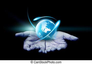 手 藏品, a, 發光, globe.