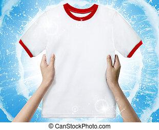 手, 藏品, a, 白色, 打掃, shirt.