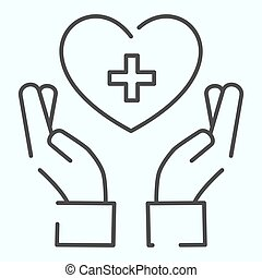 手, 設計された, icon., app., イラスト, eps, ベクトル, 交差点, 保有物, デザイン, 心づかい, アウトライン, 網, white., 医療の援助, 10., 薄いライン, 隔離された, 心, 手, スタイル