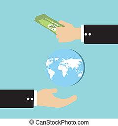手, 買い物, 地球, ベクトル
