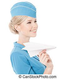 手。, 隔离, 飞机, 媚人, 背景。, 纸, 女乘务员, 握住, 白色
