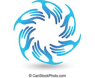 手, 青, チームワーク, ロゴ, 組合