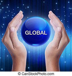 手, 顯示, 藍色的水晶, 球, 由于, 全球, word., 生意概念