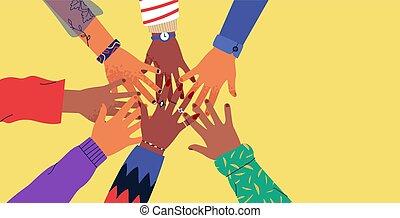 手, 04, 一緒, 多様性