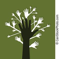 手, a, 樹