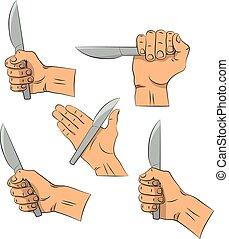 手, draw., 刀, 在, 手。, 廚房, tools., outline, 烹調, gesture., 烹調, 手, 被隔离, 在懷特上, 背景。
