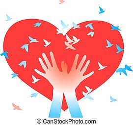 手, hearts., 背景, 鳥