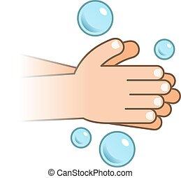 手, icon., 洗いなさい, 泡