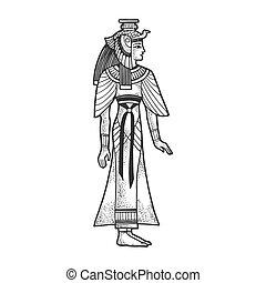 手, illustration., design., 白, 印刷, 黒, cleopatra, 引かれる, imitation., ファラオ, ベクトル, 板, image., エジプト人, tシャツ, かきなさい, スケッチ, 古代, 服装, 彫版