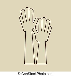 手, raised., 手アップ, 印, アイコン