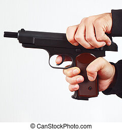 手, reload, 半自動, 銃, 白, 背景