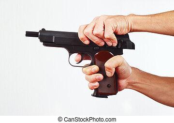 手, reload, 銃, 白, 背景