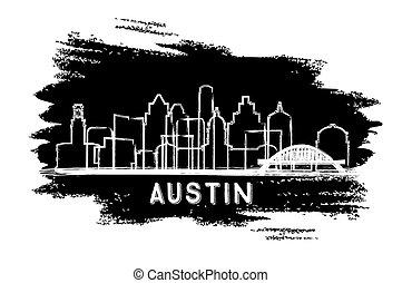 手, silhouette., sketch., スカイライン, オースティン, 都市, テキサス, 引かれる