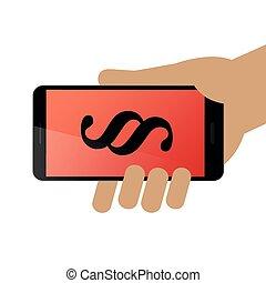 手, smartphone, パラグラフ, 把握, 人間, シンボル