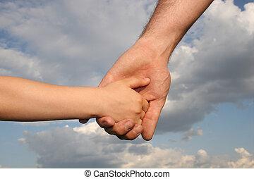 手, son's, 父