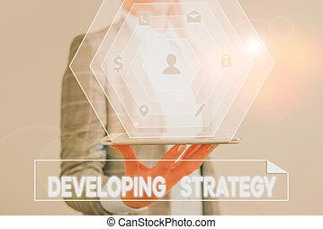 手, strategy., showcasing, ビジネス, 写真, objectives., 概念, 特定, 執筆, ゴール, 成長, 計画, セット, ゲーム, 提示