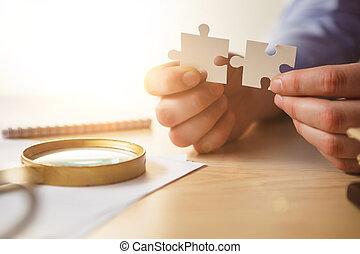 手, success., ビジネス, 建物, パズル