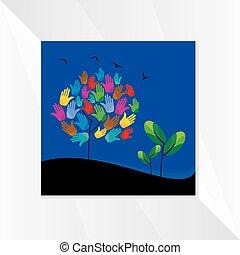 手, tree-with
