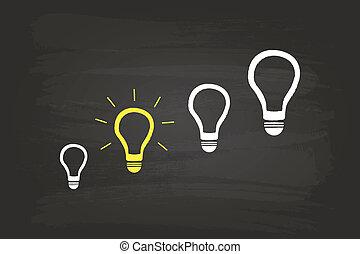 才知に長けている, ライト, 考え, 電球