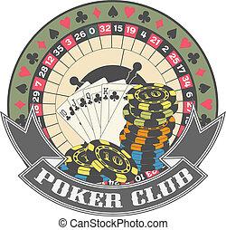 扑克牌, 俱乐部, a, 符号
