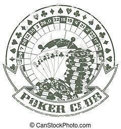 扑克牌, 俱乐部, a, 邮票