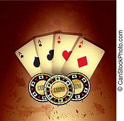扑克牌, 卡片, 同时,, 芯片