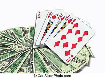 扑克牌, 卡片, 同时,, 钱