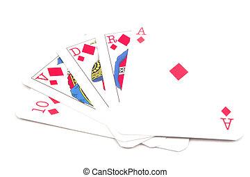 扑克牌, 卡片, -, 皇家的奔流