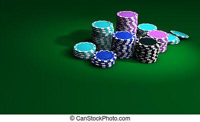 扑克牌, 同时,, 娱乐场芯片, 背景