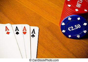 扑克牌, 同时,, 赌博芯片