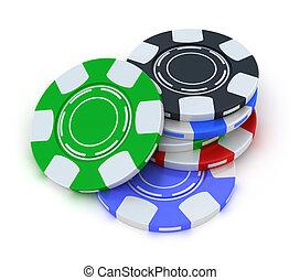扑克牌, 赌博芯片, 在中, 堆