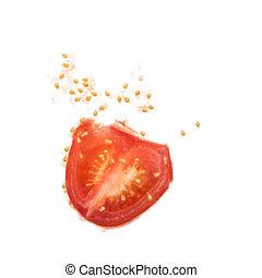 打ち壊された, トマト, 窓