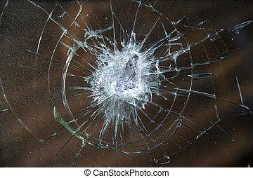 打ち壊された, windshield.