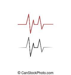 打つこと, ベクトル, ロゴ, 心, 線