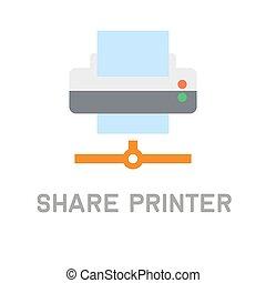 打印机, 共享, 背景。, 矢量, 网, 白色, 图标