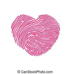 打印, 心, 手指