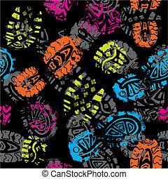 打印, foots, 模式, seamless, 矢量, 孩子