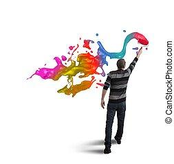 打开, 创造性, 在中, the, 商业