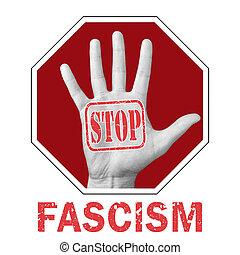 打开, 正文, 概念性, 手, illustration., 法西斯主义, 新闻, 停止