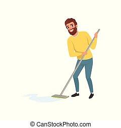 打扫, 套间, 公然反抗, 家伙, 地板, 房子, 毛线衫, 性格, husband., 年轻, mop., 矢量, 设计, housework., 微笑, jeans., 卡通漫画, 男性, 人