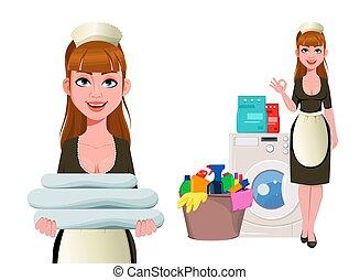打扫, 少女, 女士, 妇女