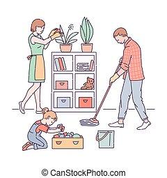 打扫, 父母, isolated., 勾画, 孩子, 房子, 矢量, 描述
