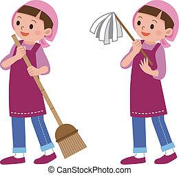 打掃, 婦女