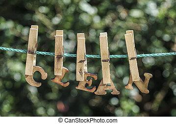 打掃, 詞, 寫, 所作, 垂懸, 木制, 信件, 上, 繩子, 在, 花園