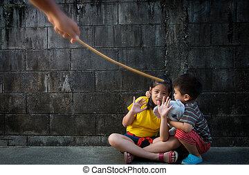 打撃, ∥あるいは∥, 濫用, 子供, 描写, 罰
