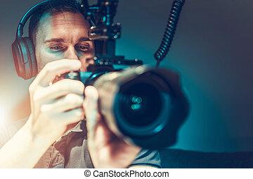 打撃, カメラ, ビデオ, 映画, オペレーター, 取得